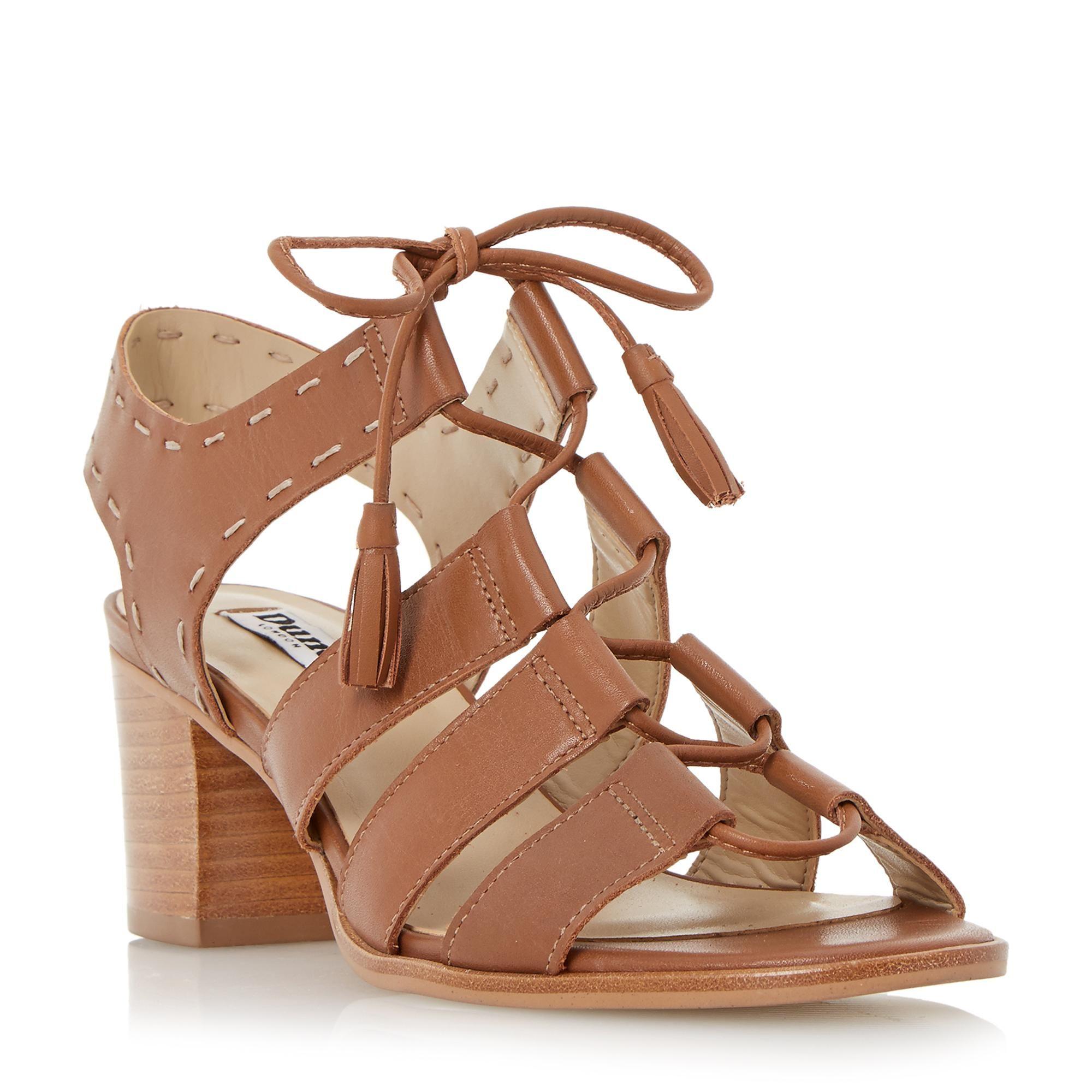 2f01364cdfb DUNE LADIES IVANNA - Ghillie Lace Block Heel Sandal - tan