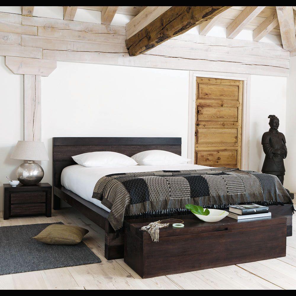 Lit exotique 160 x 200 cm en manguier massif Java | Maisons du Monde ...