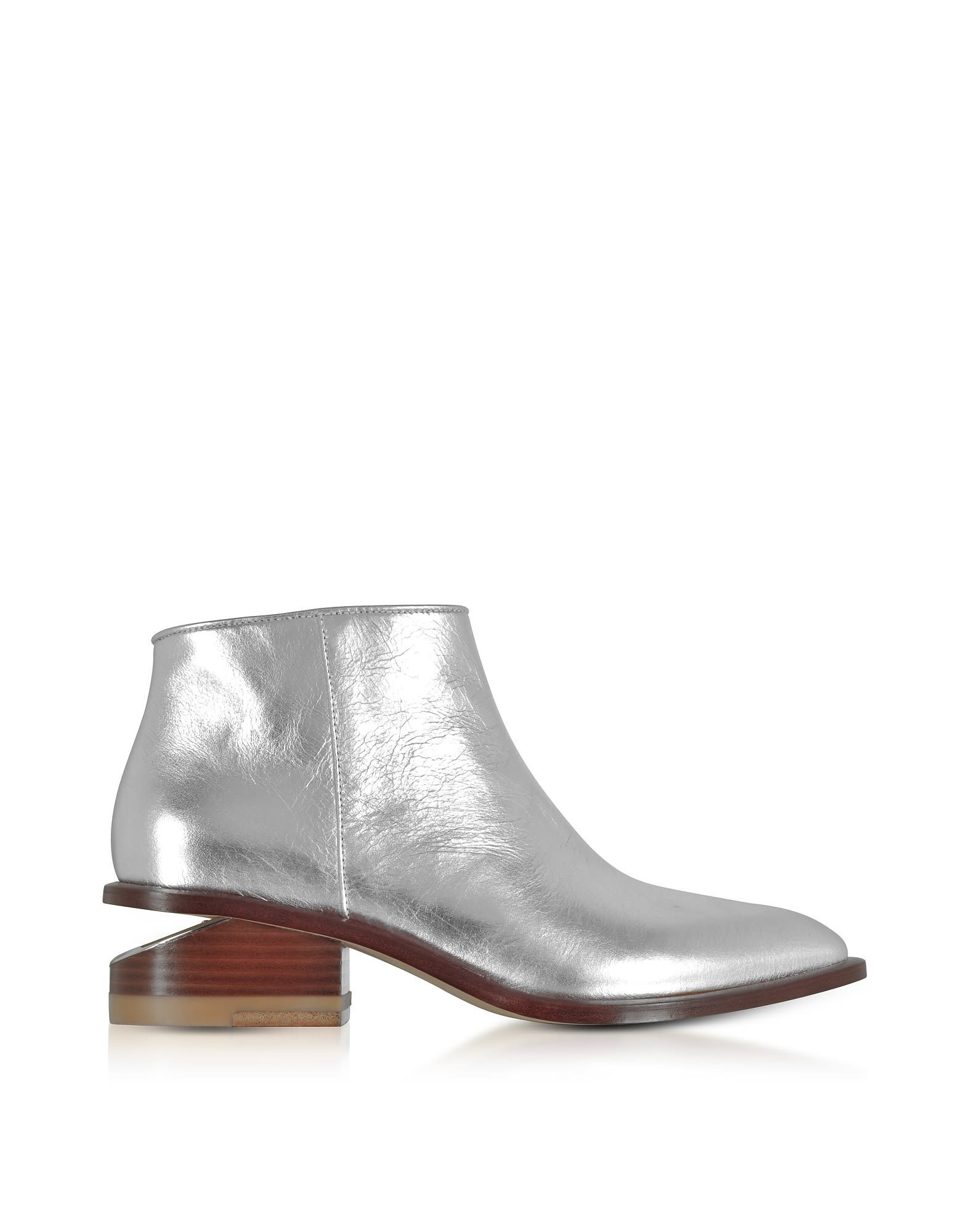 Alexander Wang Designer Shoes, Kori Metallic Leather Booties w/Rhodium Heel