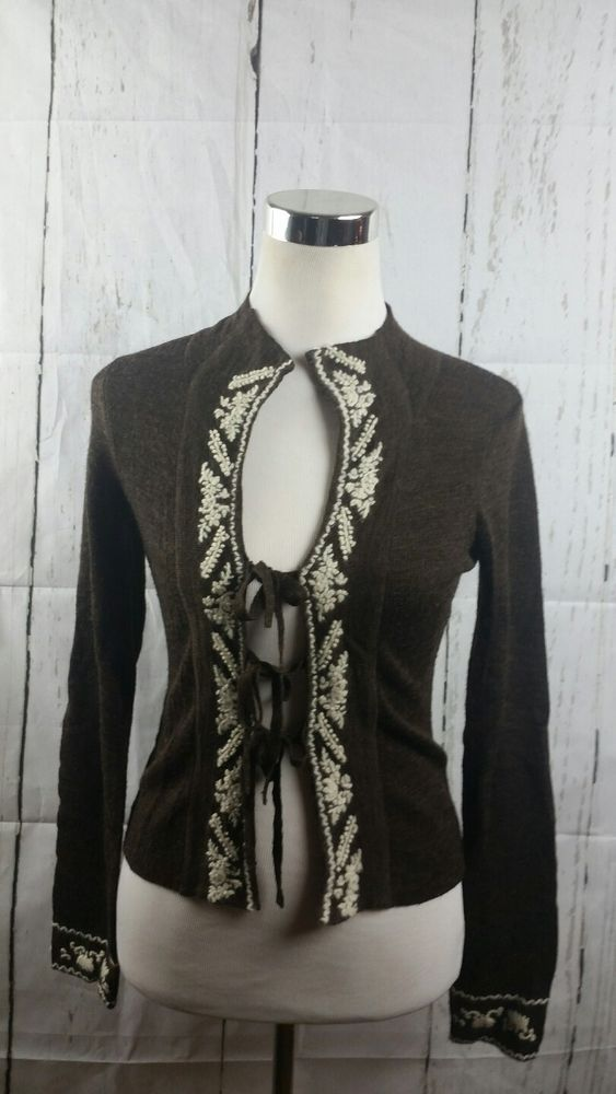 Free People Brown white Embroidered Sweater Tie Closures Sz S petite wool blend | Clothing, Shoes & Accessories, Women's Clothing, Sweaters | eBay!