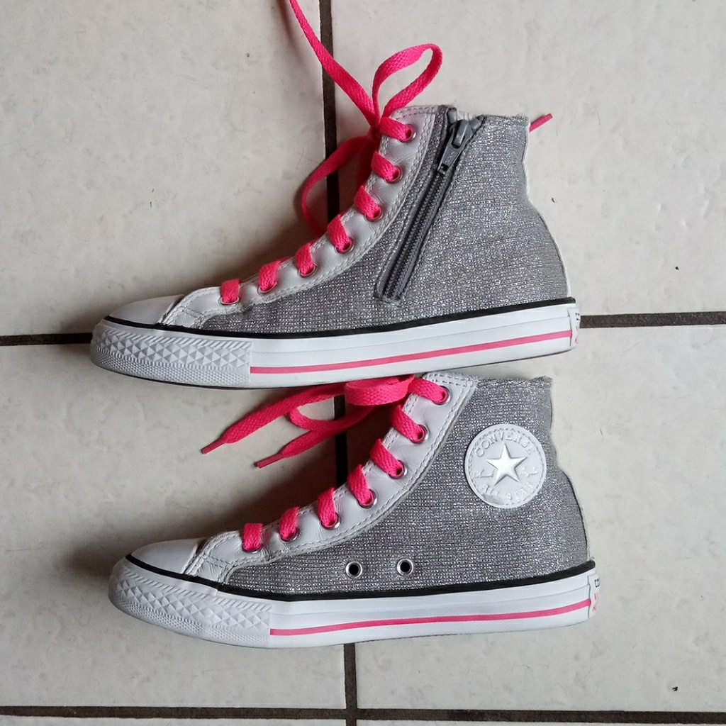 Converse Shoes | Girls Converse Pink Silver Glittery