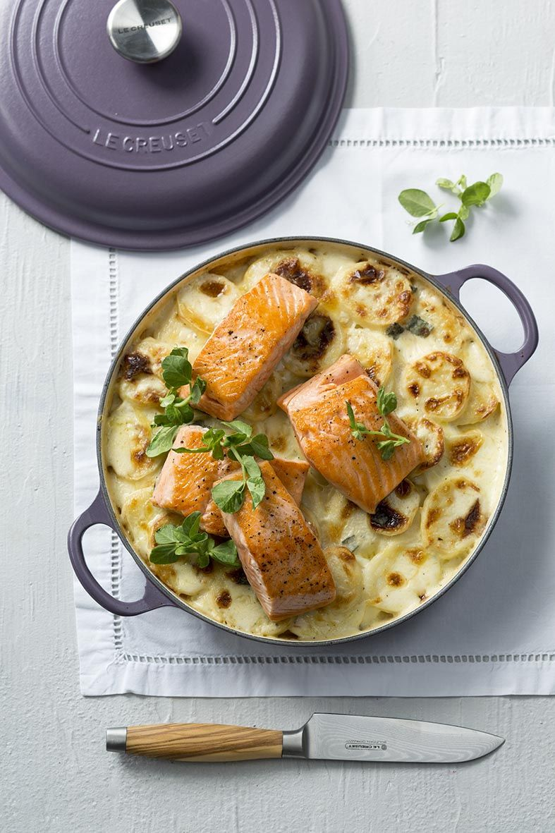 potato bake with grilled salmon fillets le creuset amethyst buffet casserole le creuset. Black Bedroom Furniture Sets. Home Design Ideas
