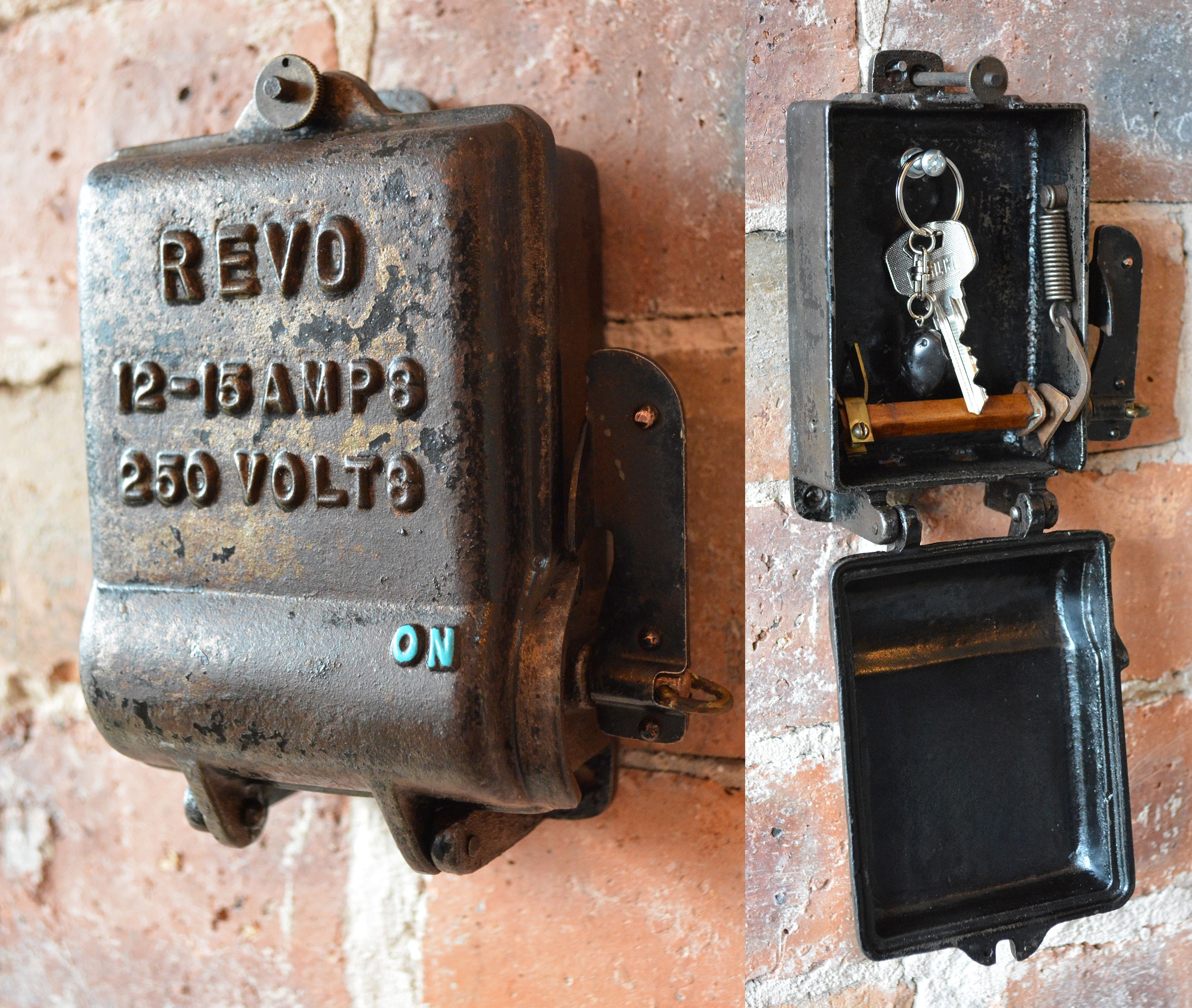 ddebd9ff65210514eb0d60b0b47283cd cast iron key storage converted from an antique 1940's revo fuse antique fuse box at reclaimingppi.co
