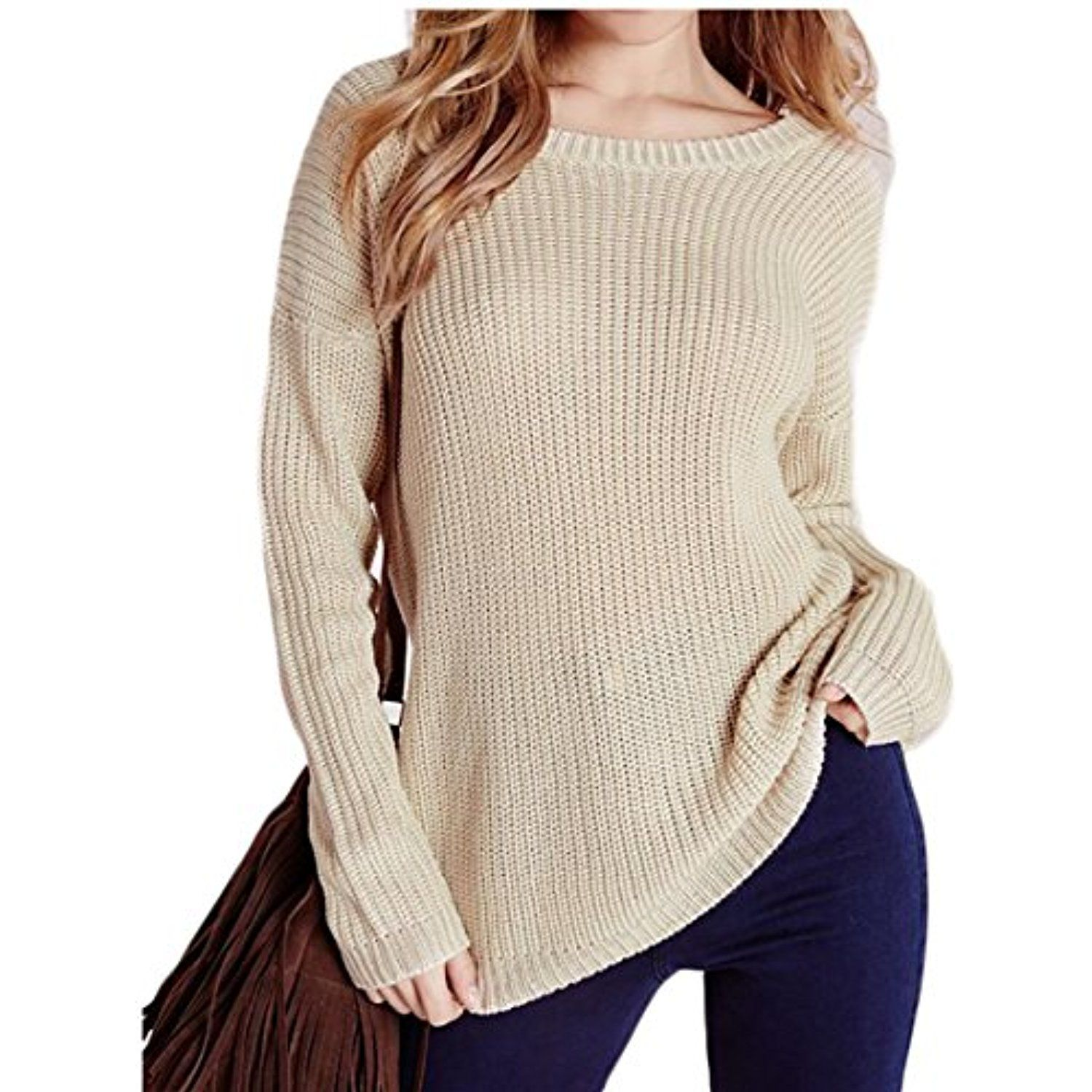 Womens Sexy Long Sleeve Back Bandage Knit Pullover Sweater Jumpers ...