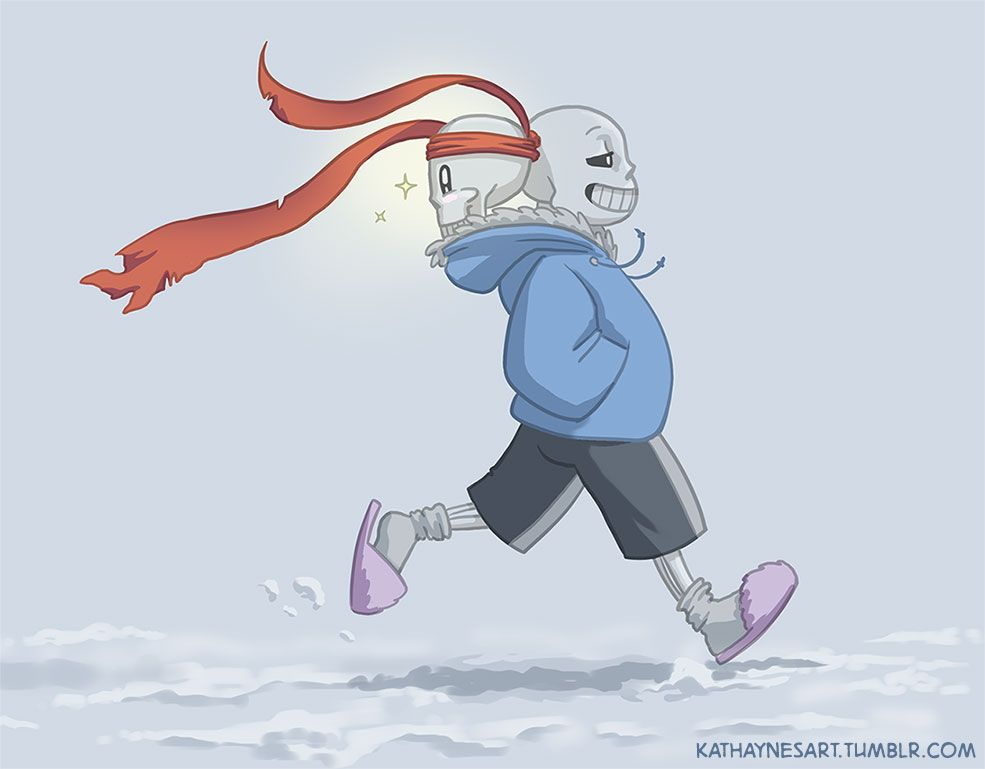 kathaynesart:  Did I say there would be humor in this one?  I lied.  Sorry.  Maybe in the next one. Sans isn't usually one to run, but I could see him picking up to a brisk jog if only to let Papyrus marvel at his bandana blowing dramatically in the wind.  I had to throw some quick colors onto the last panel… because sometimes Papyrus' joy just can't be expressed in simple shades of gray.  Part 1 | Part 2 | Part 3