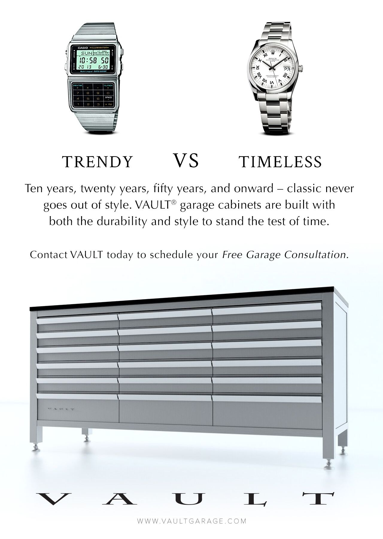 VAULT #garagecabinets are timeless, not trendy. Our newest blog post discusses home design trends that didn't stand the test of time, and how to avoid chasing after the wrong fashions. Visit the VAULT Garage blog for the full article & a free garage design consultation.