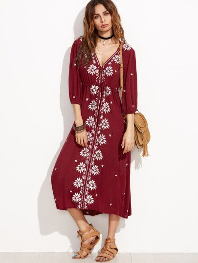 711dde6152 Vestido estilo campesina con bordado-Sheinside