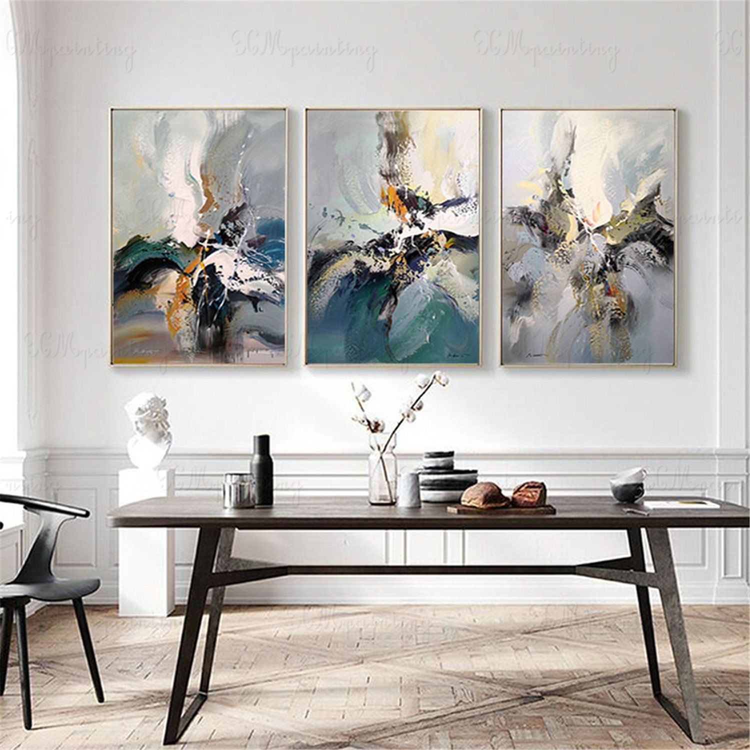 3 Pieces Original Abstract Painting On Canvas Wall Art Pictures