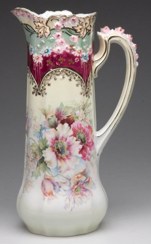 R. S. GERMANY FLORAL-DECORATED TANKARD PITCHER :