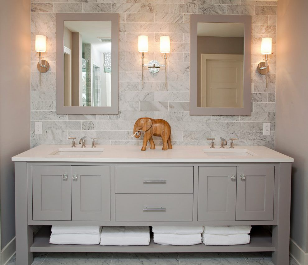 Bathroom sinks with options for everyone - Luxury Bathroom Vanities Bathroom Beach Style With Gray Backsplash Freestanding