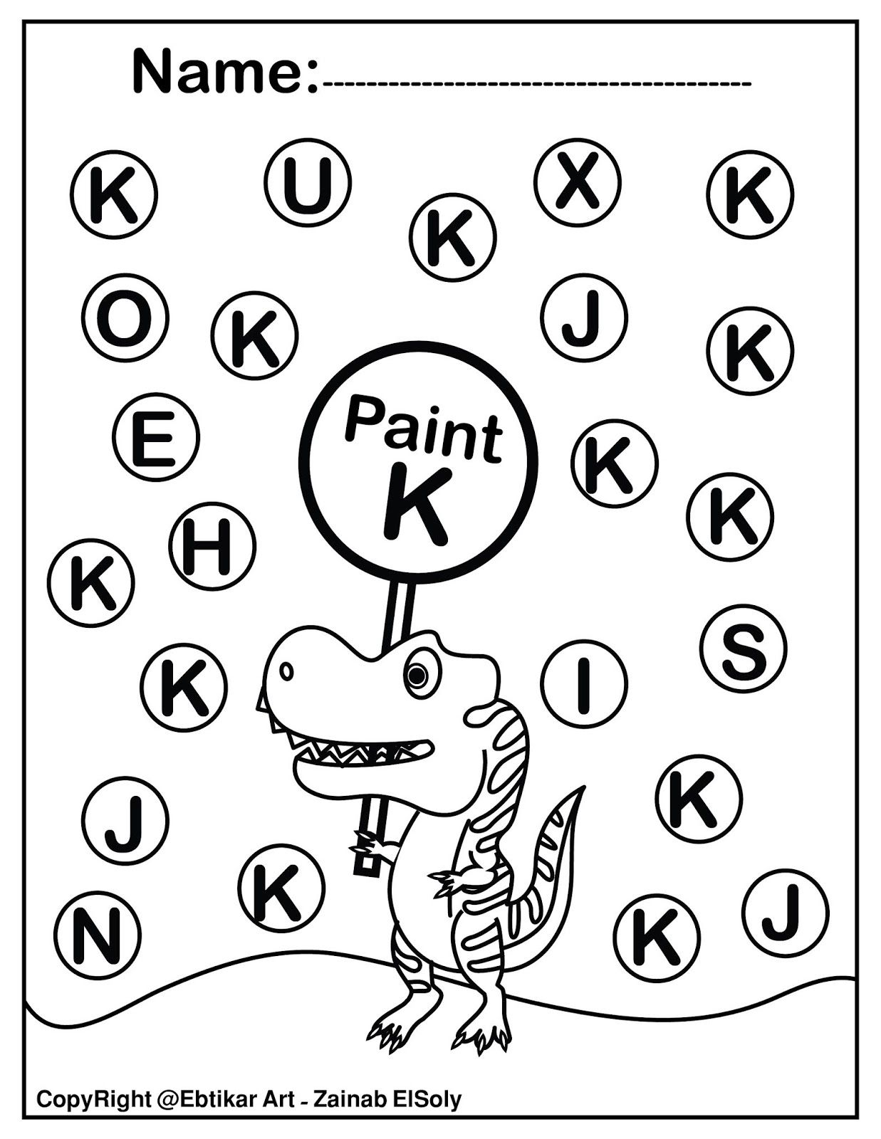 Set Of Abc Dinosaur Trex Activity Paint A Dot Preschool