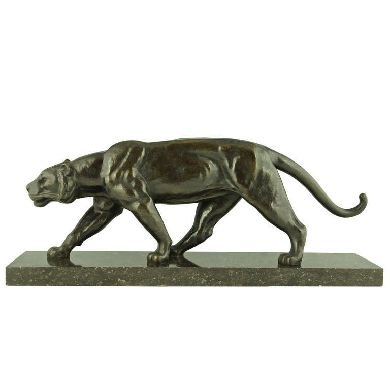Art Deco Bronze of Walking Panther by Alexandre Ouline | From a unique collection of antique and modern animal sculptures at http://www.1stdibs.com/furniture/more-furniture-collectibles/animal-sculptures/