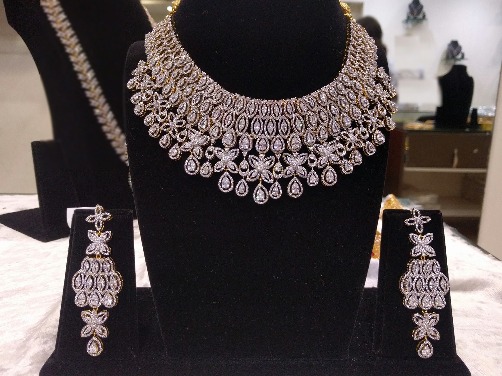 Bridal Necklace Necklace Earrings Indian Jewelry Necklace Set White American Dia Indian Diamond Jewellery Bridal Jewellery Indian Gold Necklace Set