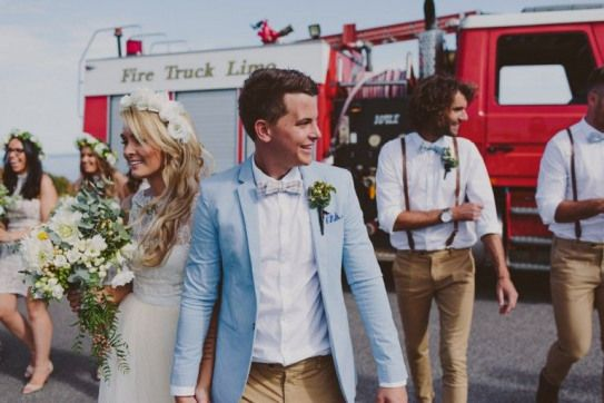 2015s best gressed grooms  tan chinos and pale blue jacket