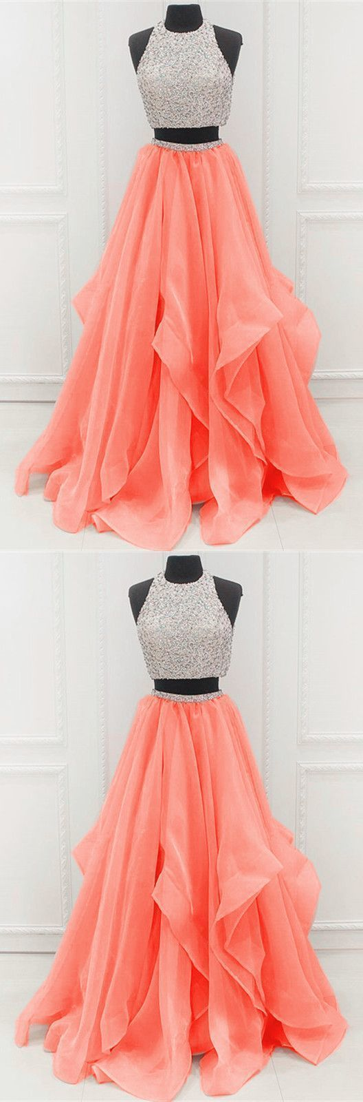 Prom Dress Ball Gown, two piece a line beaded tulle 2019 Unique Prom Dresses SuZhou Prom
