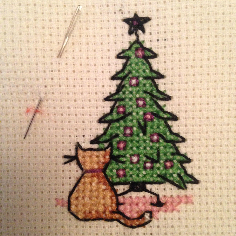 Christmas Tree And Cat Cross Stitch Christmas Cross Stitch Cat Cross Stitches Cross Stitch Tree