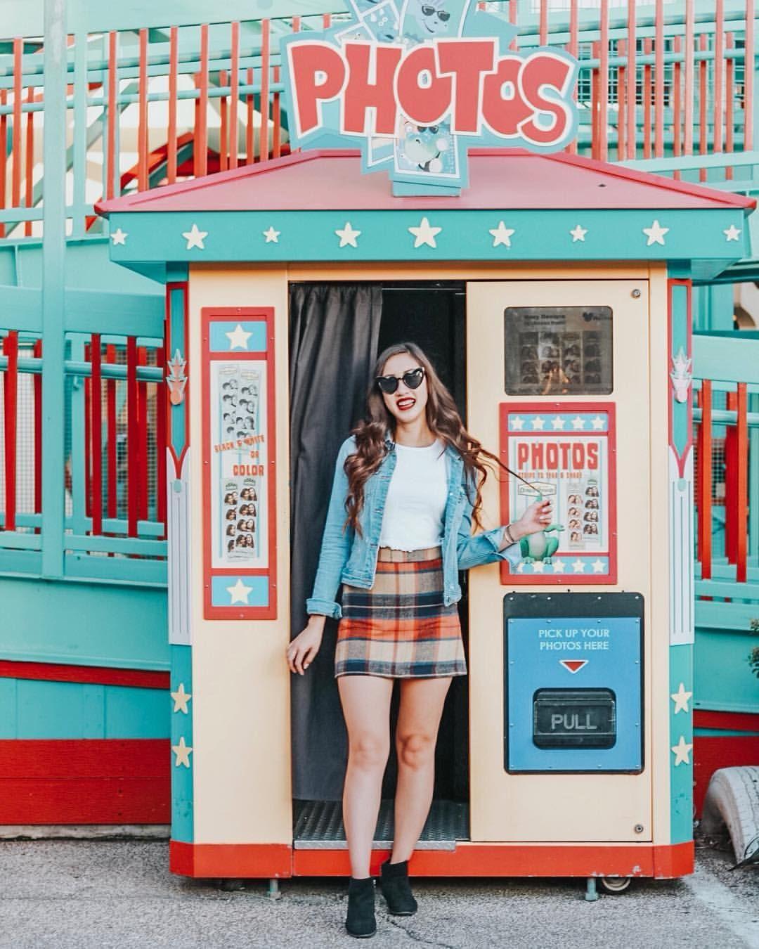 e5600c7b2 Lulu's Mad for Plaid Beige Plaid Mini Skirt. Disney's Animal Kingdom. Fair  Carnival photo booth. Instagram @abcdefgina