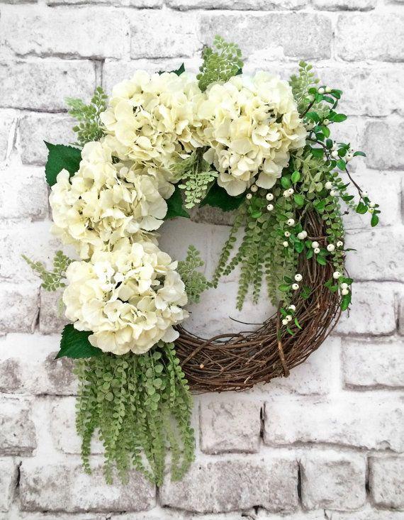 White Hydrangea Wreath, Spring Wreath, Summer Wreath, Front Door Wreath,  Silk Floral Wreath, Grapevine Wreath, Etsy Wreath
