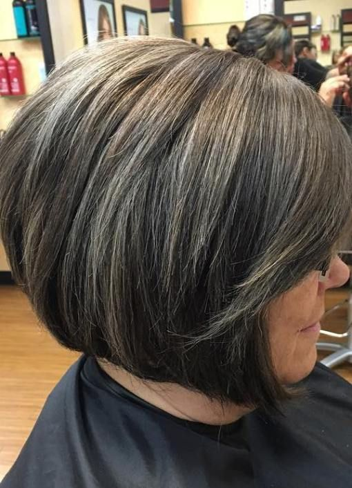 Thick Bob Needs To Be Thinned Put Or Shaved Underneath Transition To Gray Hair Blending Gray Hair Hair Highlights