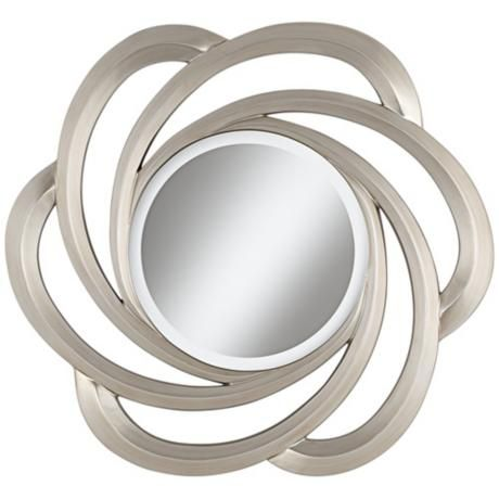 """Cosmo 32"""" Round Silver Wall Mirror"""