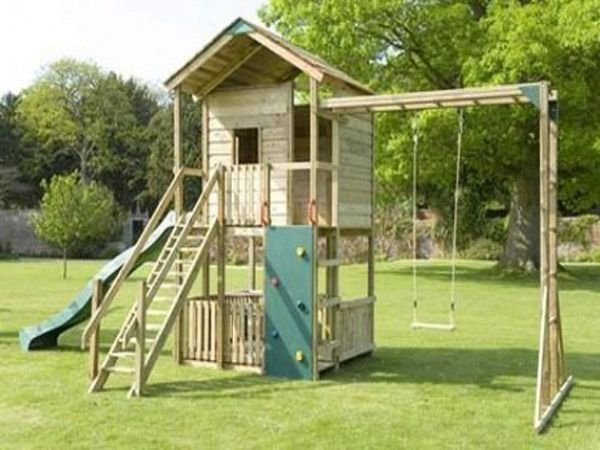kids garden ideas with small wood house for a comfortable playground kids garden ideas for a complete play ground garden design ideas