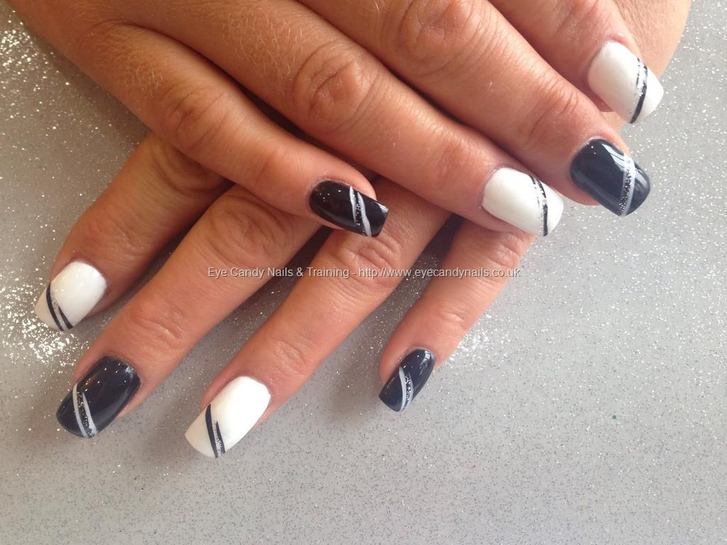 Acrylic nails with black and white gelish gel polish free hand nail ...
