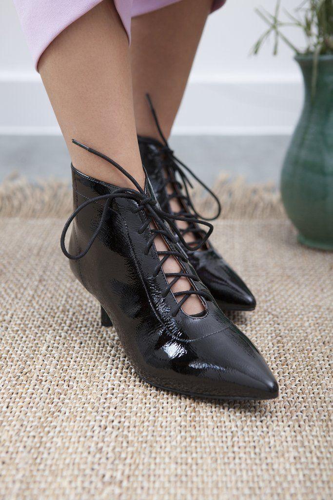 Kitty Black Patent Kitten Heel Boot Kitten heel boots