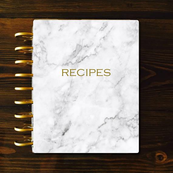 Recipe Binder Kit, Marble Meal Planner, Marble Dashboard
