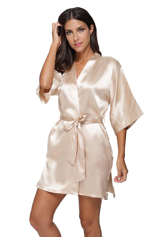 The Bund womens Pure Colour Short Kimono Robes with Oblique V-Neck apricot  Small 32f7337c6