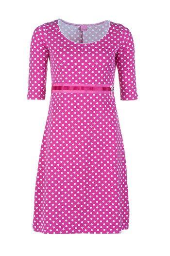 4a74443a7615 Dazzle Me kjole DIANA pink Deluxe med hvide prikker   dot dress ...