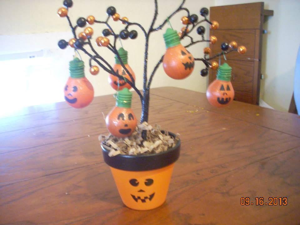 Halloween light bulb ornament tree