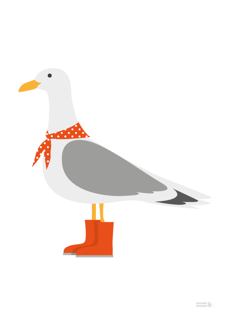 Seagull Print In Orange Seagull Art Seagull Poster Showler Showler Seagull Illustration Art Wall Kids Seaside Art