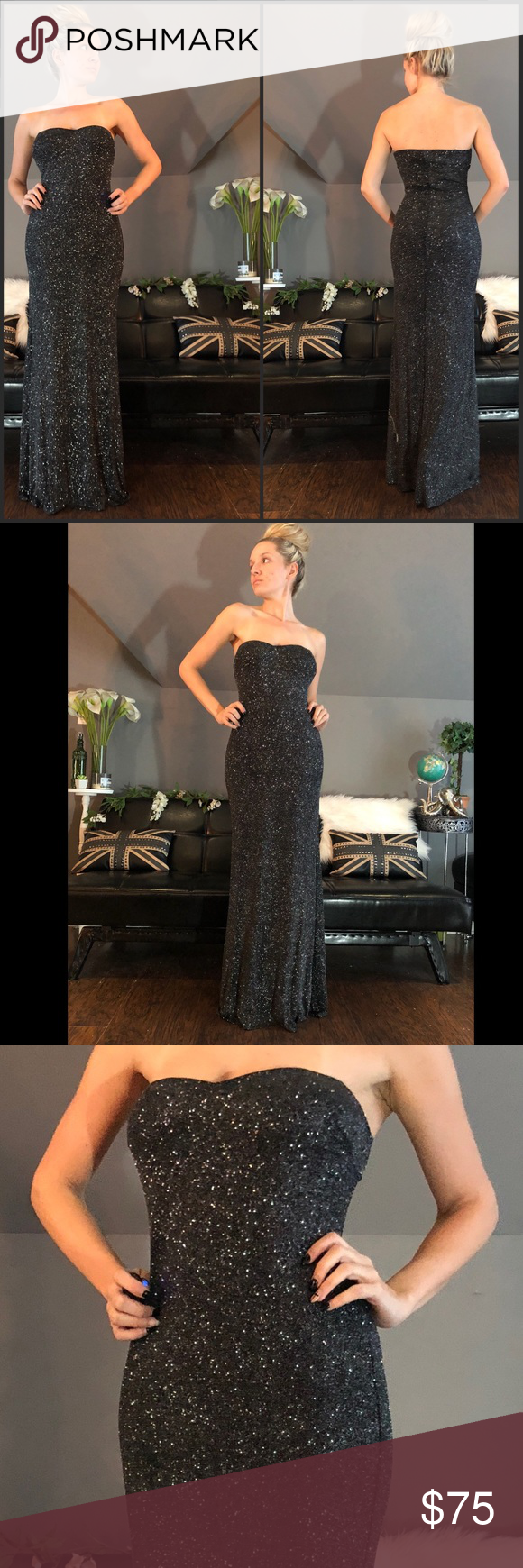Host pick strapless black sparkly evening gown boutique dress prom