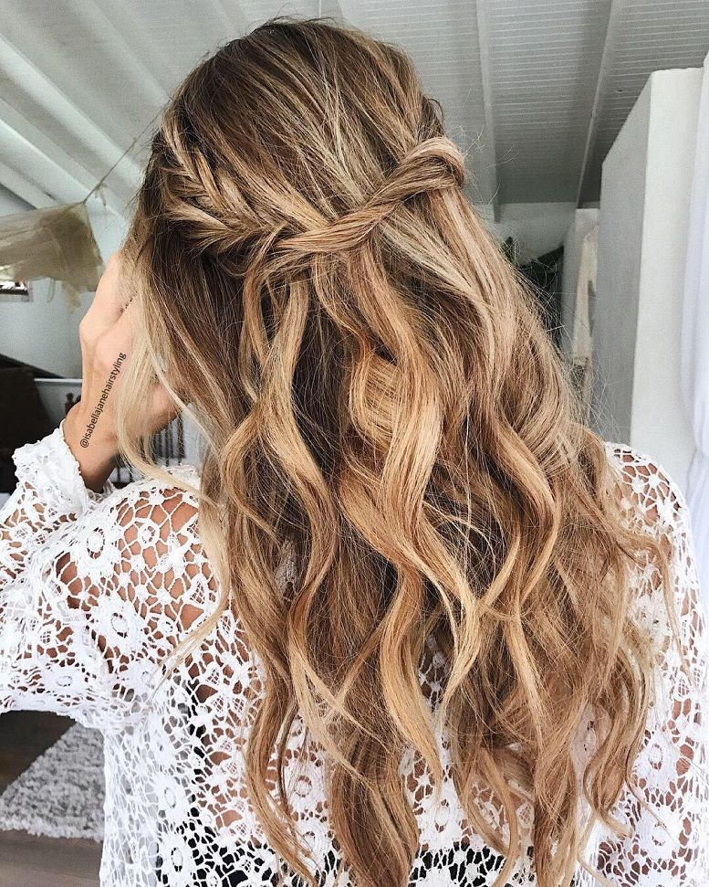 Blown away with these 57 Beautiful Messy wedding hair ,Braids + waves , half up half down bridal hairstyles #weddinghair #weddingupdo #weddinghairstyle #weddinginspiration #bridalupdo