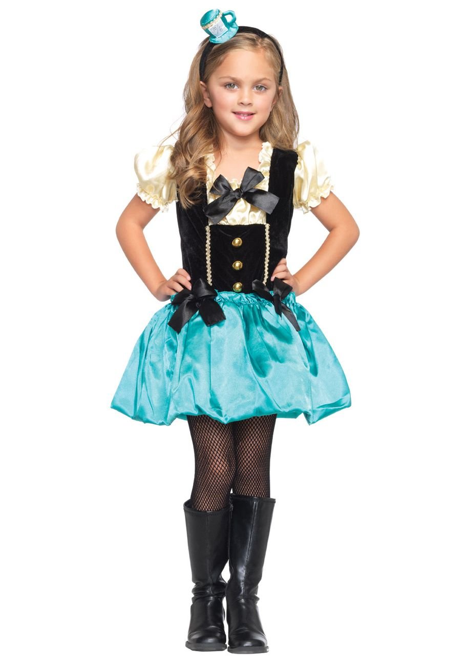 Tea Party Princess Mad Hatter Cute Kids Holiday Party Costume ...