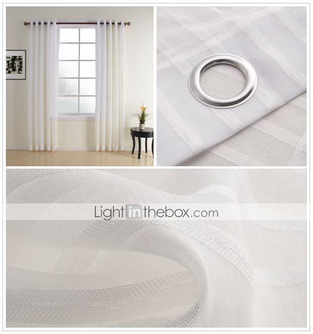 jacquard blanco contemporáneo cortina escarpada (dos paneles) - USD $ 39.99