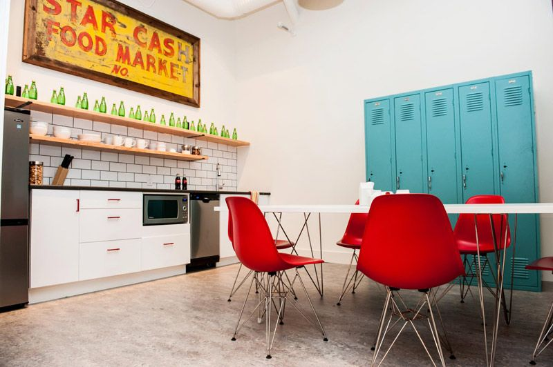 Desire To Inspire Kyla Bidgood S Office Redo Kitchen Lockers Office Break Room Lunch Room Break Room Decor