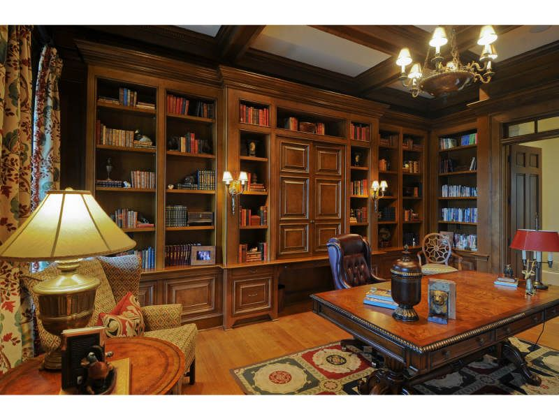 Office M's! this is it! Old world wood look, giant desk, make lighting more masculine, clean lines, big pieces & built-ins.