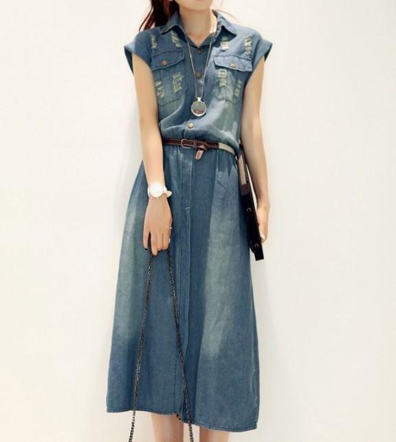 42e389436e1 Summer Women's Casual Turn-Down Collar Short Sleeve Denim Dress – zorket