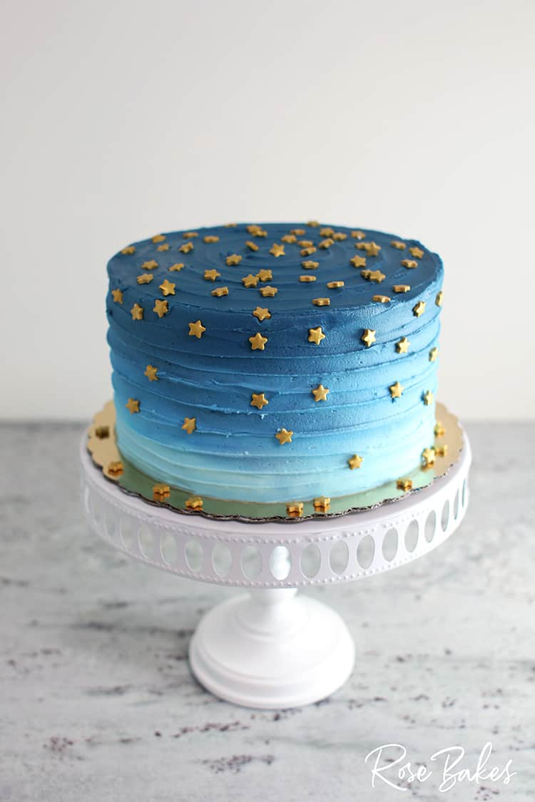 Night Sky Ombre Cake (a preview of Cake Decorating for Beginners) | Rose Bakes