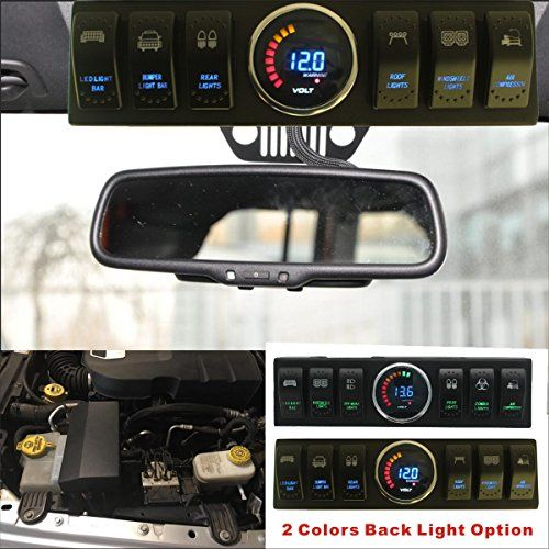 Apollointech Jeep Wrangler Jk Jku 09 17 Windshield Top 6 Switch Pod Panel With Control And Source System Relay Box Blue Jeep Wrangler Jeep Jeep Wrangler Jk