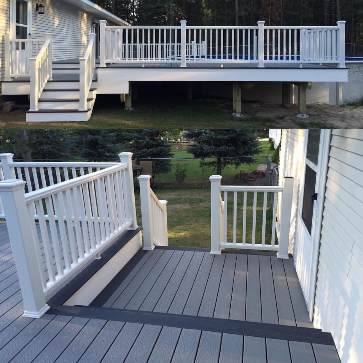 Trex Pebble Grey And Winchester Grey Decking With Trex Transcend Railing Call Renewit Group To Schedule Your Deck Today 844 Renewit 736 3948 Www Renew Terrasse