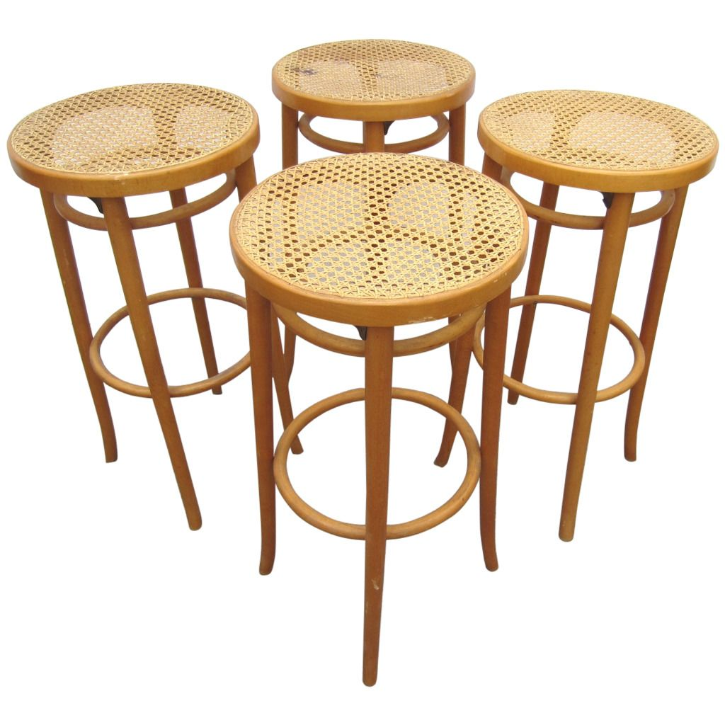Set Of Four Vintage Michael Thonet Design Cane Bar Stools 29 Inches  From  A Unique Collection Antique And Modern Stools At  Thonet Bar Stool57