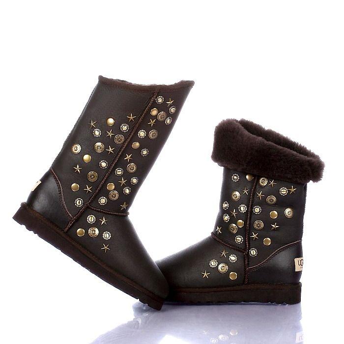UGG Boots 5838 Studded Metallic Chocolate AAA