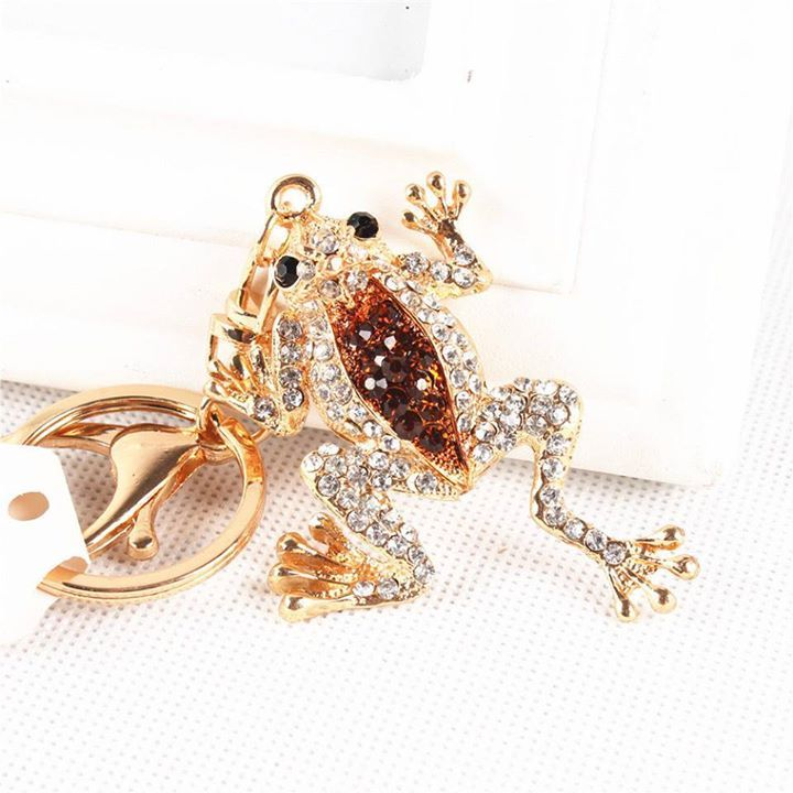 Cute Frog Crown Lovely Pendent Crystal Purse Bag Keyring Key Chain Creative Gift Check out http://ift.tt/1XC9KwT