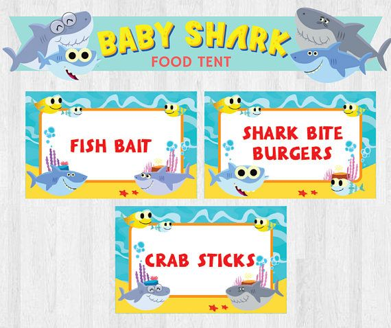 super simple songs baby shark editable birthday party food tent