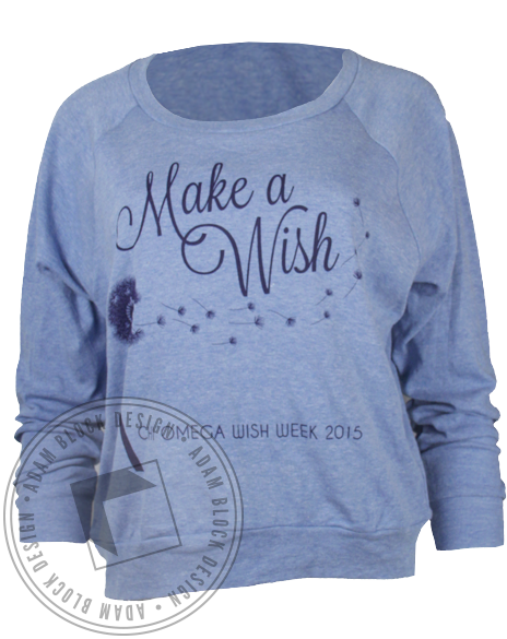 Chi Omega Make A Wish Raglan by Adam Block Design | Custom Greek Apparel & Sorority Clothes | www.adamblockdesign.com