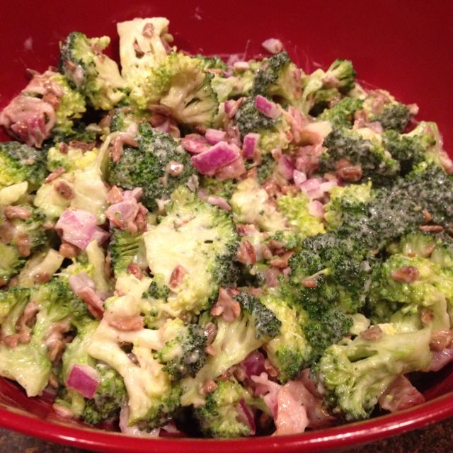 The broccoli salad recipe that is posted on my board but with a kick of ranch dressing. May also try seeded Roma tomatoes with it.