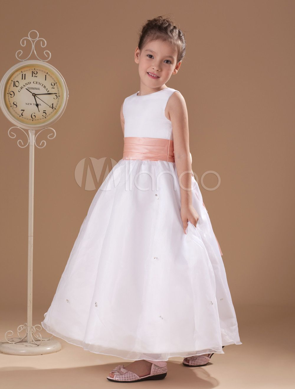 White Satin Princess Flower Girl Dress Bouquetires Pinterest