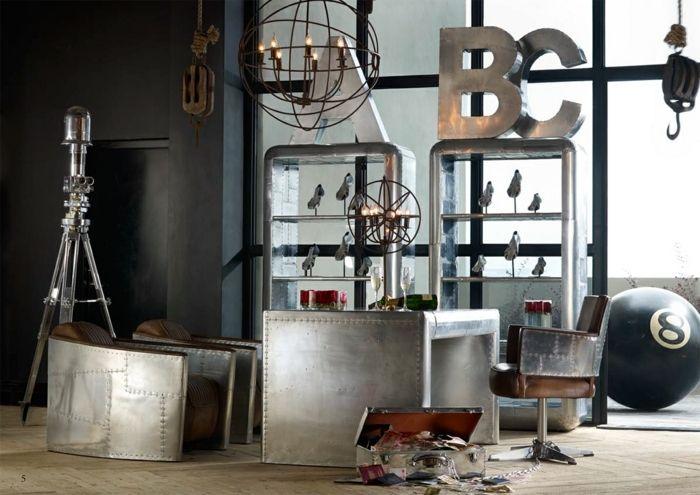 estilo vintage, interior vintage, cajas de metal en colo plateado - estilo vintage decoracion